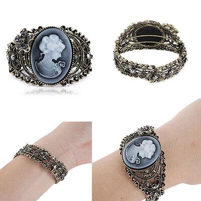 Fashion Vintage Cameo Victorian Lady Inlay Crystal Flower Bronze Cuff Bracelet