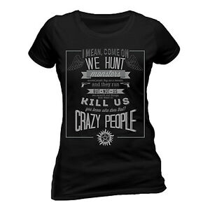 Offizielle-uebernatuerliche-Crazy-People-T-Shirt-Fitted-Dean-amp-Sam-Winchester-Brothers