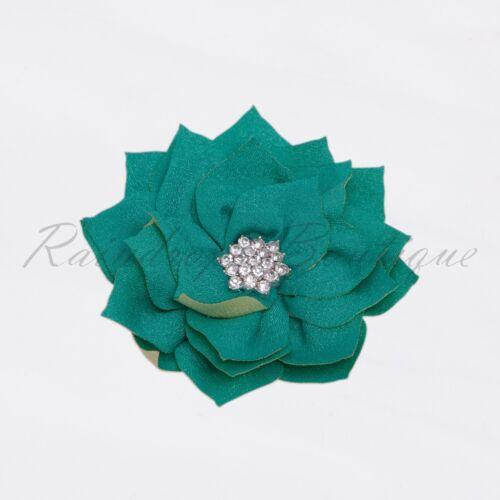 "3/"" Poinsettia rhinestone flower girl tutu dress hair wedding craft embellishment"