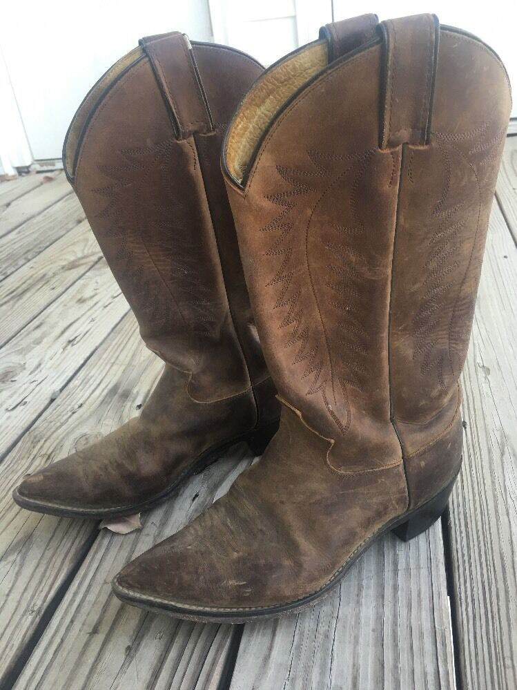 Justin Men's Size 9 B Western Cowboy Boots Leather Used Check Them Out