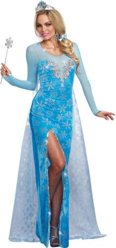 Ice Queen Adult Women/'s Costume Gown Dress Blue Velvet  Princess Frozen