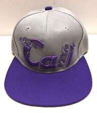 939c604ca99 Cali California Snapback Hat Bear Gray Purple Flat Bill Baseball Cap