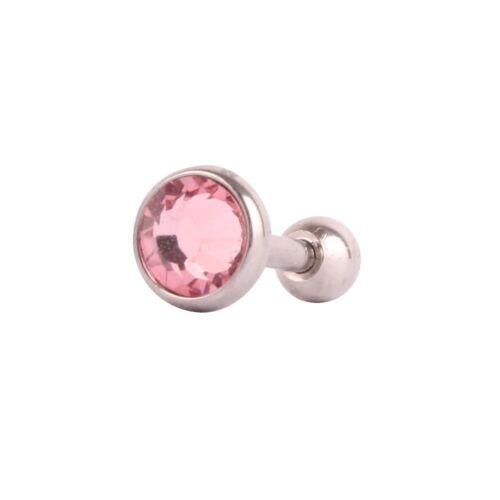 1 Paire Clous d/'oreilles Cristal Cartilage Tragus Boucles d/'oreille Helix Barbell Ring 3 mm 4 mm 5 mm