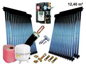 Solaranlage-Komplettpaket-Roehren-Kollektor-Bafa-12-4-m-mit-24mm-Power-HeatPipe