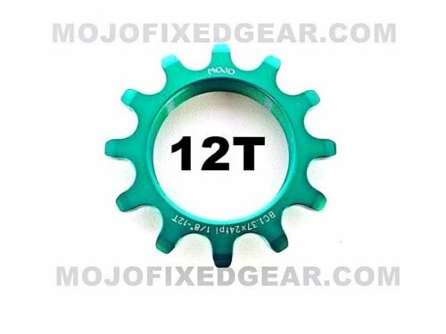 MOJO 12T FIXED GEAR COG GREEN ANODIZED Cro-Mo TRACK 12 TOOTH 1//8 INCH CNC