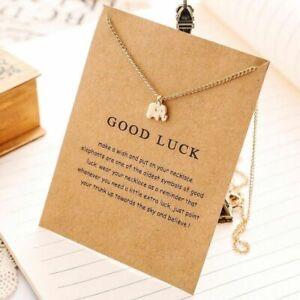 Silber-Kette-Elefant-Halskette-Baby-Elefant-Good-Luck-Geschenk-Neu-Gold
