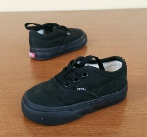 726457d842 Vans Off the Wall Black Canvas Low Top Toddler Shoes Size 4C