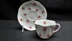 Shelley-England-Bone-China-Rose-2334-Dainty-Shape-Pink-Handle-Cup-amp-Saucer