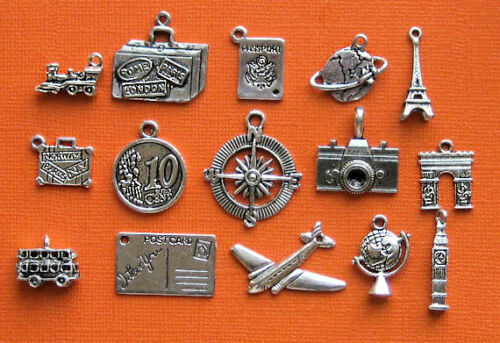 COL062 Travel Charm Deluxe Collection Antique Silver Tone 15 Different Charms