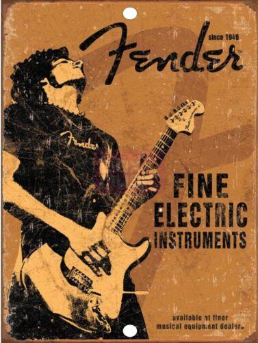 "FENDER Guitar 9/"" x 12/"" Aluminum Sign"