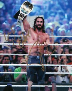 WWE-SIGNED-PHOTO-SETH-ROLLINS-THE-SHIELD-WRESTLING-8x10-034-PROMO