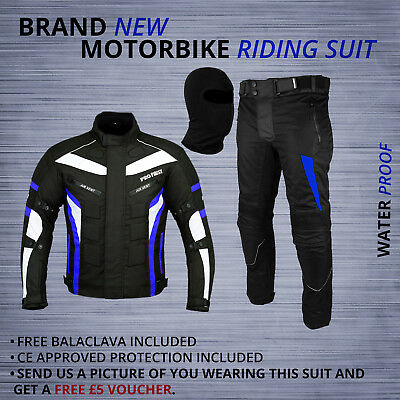Black Motorbike Waterproof Suit 600D Cordura Textile Motorcycle Jacket /& Trouser
