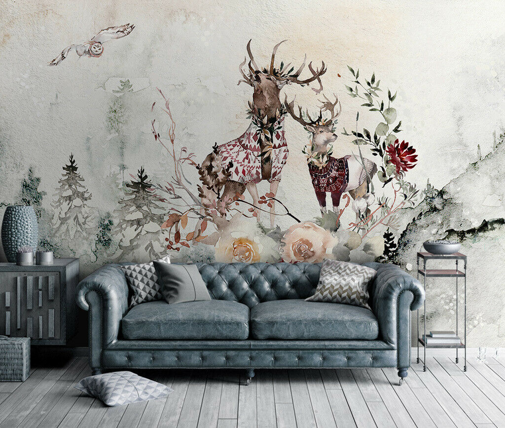 3D Art Elk Owl N340 Wallpaper Wall Mural Removable Self-adhesive Sticker Amy