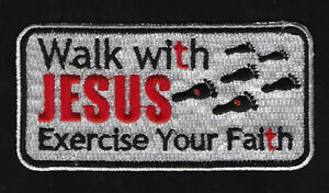 WALK-WITH-JESUS-EXERCISE-YOUR-FAITH-IRON-ON-HAT-VEST-PATCH-QUILT-GOD-ANGELS-WOW