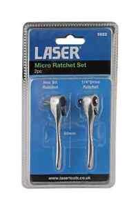 LASER-Tools-5822-Set-2-pezzi-Micro-Ratchet-Bit-driver-1-4-unita-80mm