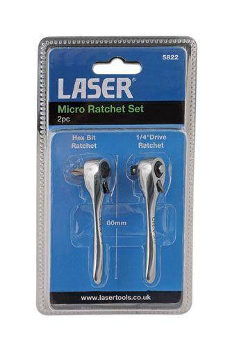 LASER TOOLS 5822 2 PIECE SET MICRO RATCHET + BIT DRIVER 1/4 DRIVE 80mm