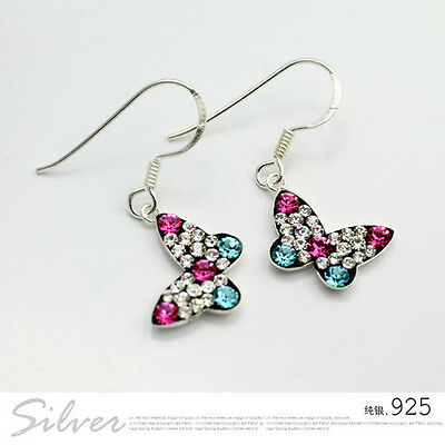925 Sterling Silver Dangle Butterfly Earring Made with Swarovski Crystal IE82