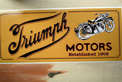 TRIUMPH MOTORS 1902  Motorcycles SALES & SERVICE  Workshop Garage Sign Sticker