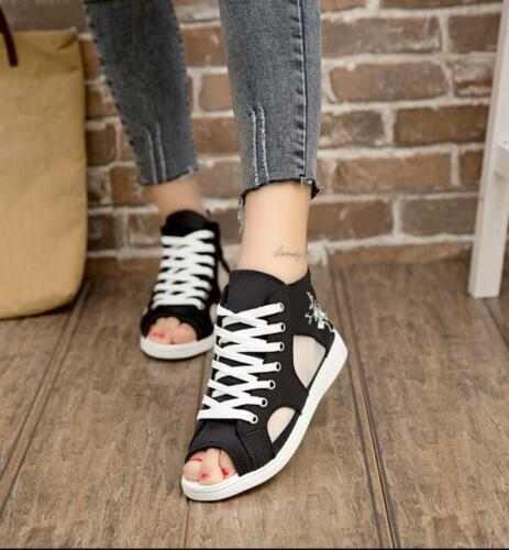Womens peep toe Lace Up Hollow Out Denim High Top ventilate Sandals Flats Shoes