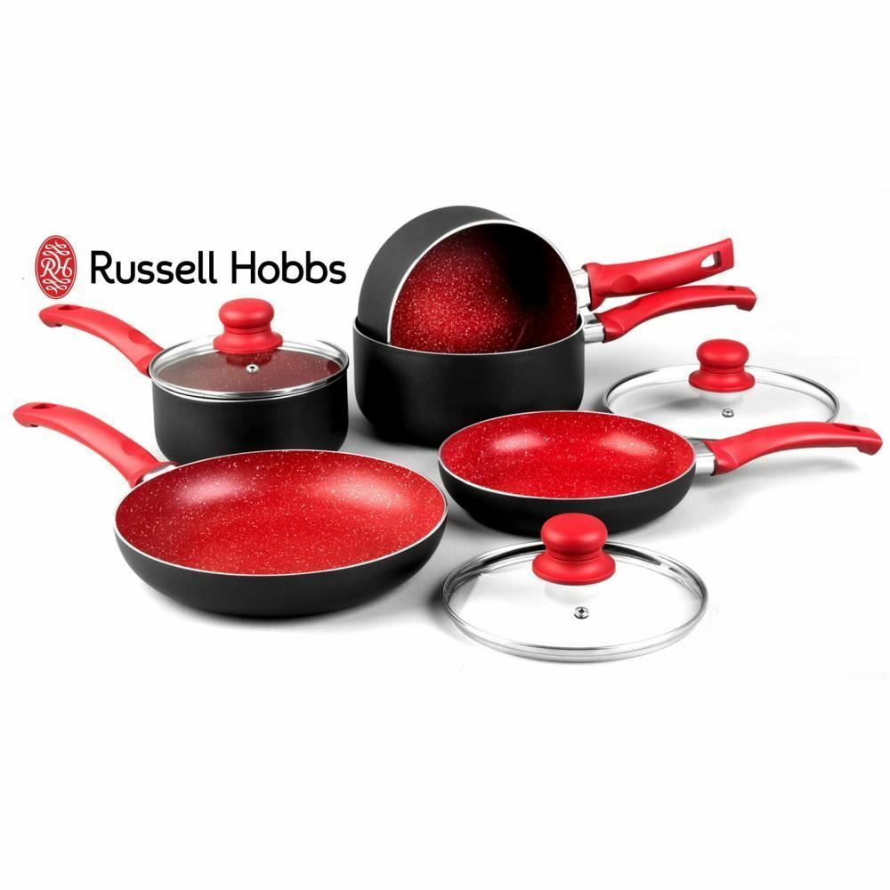 Russell Hobbs 8 Piezas Rojo Antiadherente Inducción Piedra Pan Juego Cazo Sartén