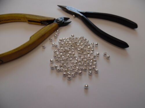 AC002 50 Pcs Sterling Silver 925 LASER CUT Textured 4mm Round BEADS Jewel Making