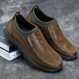 Men-039-s-Hand-Stitching-Leather-Slip-On-Loafers-Casual-Breathable-Antiskid-Shoes