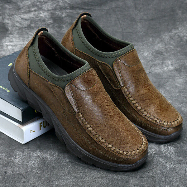 3fa95e1a33255 Men's Hand Stitching Leather Slip On Loafers Casual Breathable Antiskid  Shoes