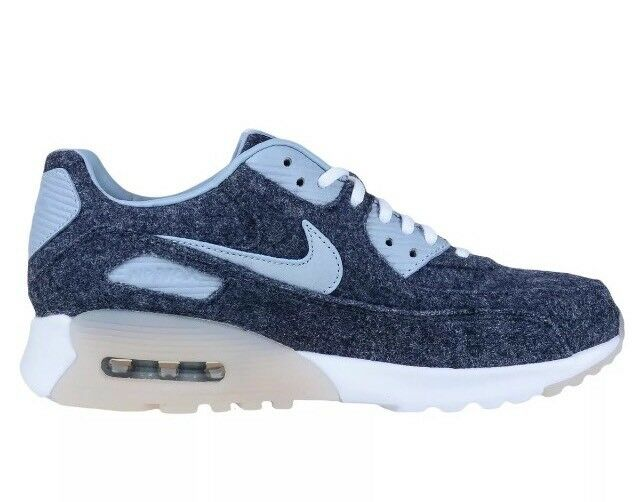 NIKE AIR MAX 90 ULTRA PRM WOOL GRAY BLUE GREY WHITE WOMENS Sz 7.5 Fits 6Y NEW