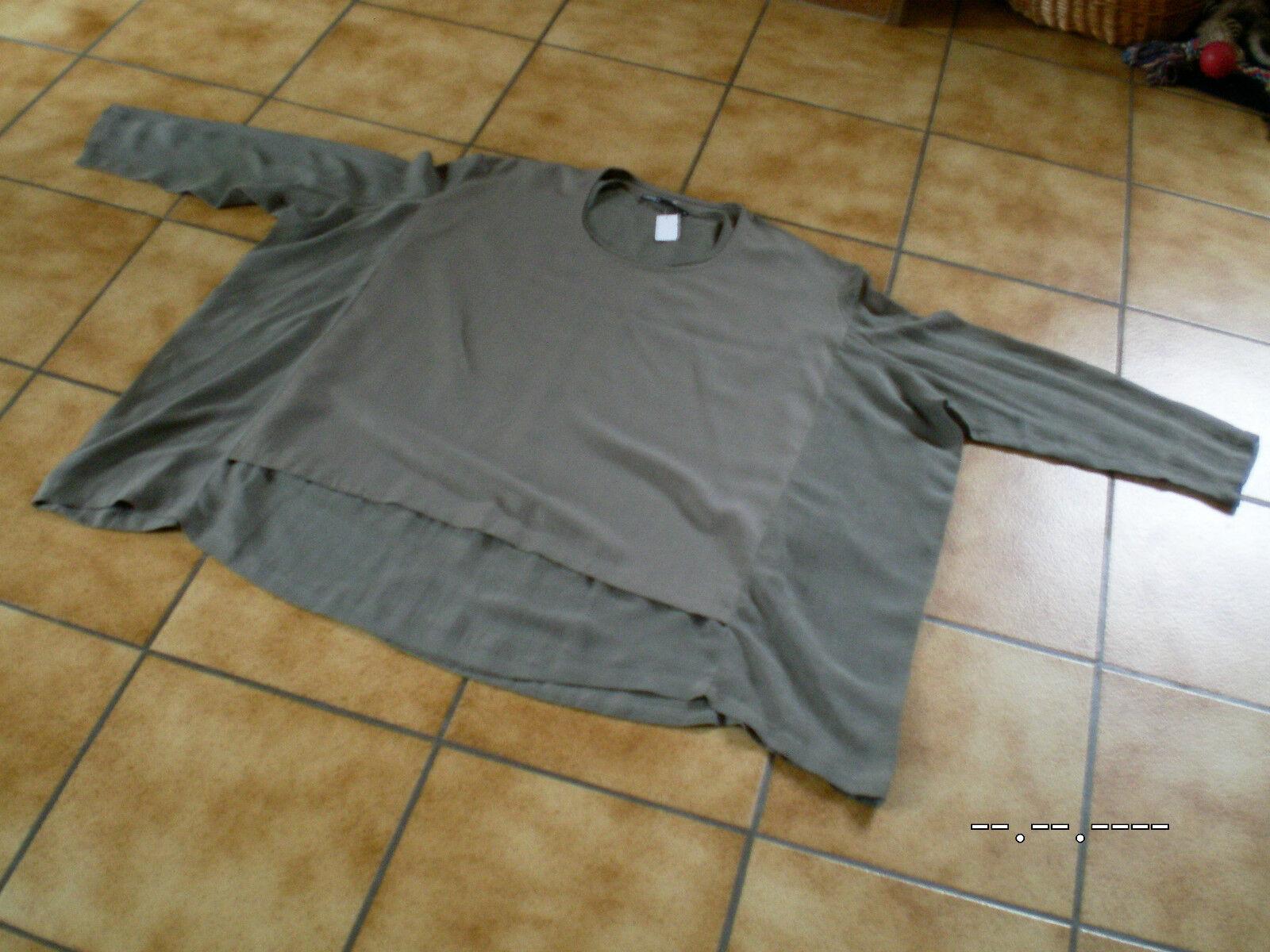Tunika Blause Shirt,Rundholz Hauptlinie,2 Stoffe,Gr.M(OS),sehr groß,Lagenlook