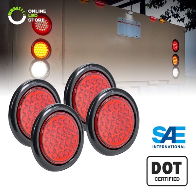 4pc Dot Submersible Red 4 U0026quot  Round 24 Led Trailer Tail Light
