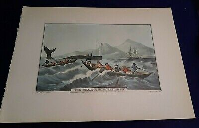 "1972 Vintage Currier /& Ives FISHING /""WHALE FISHERY LAYING ON/"" COLOR Lithograph"