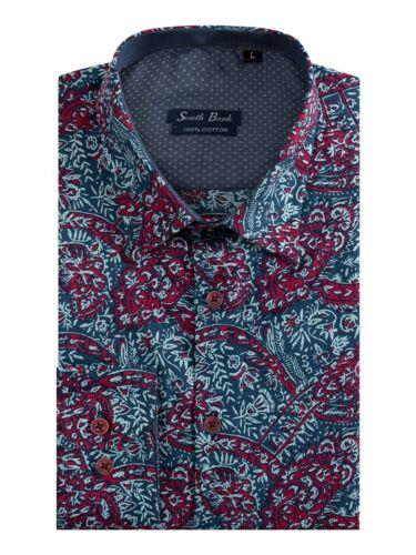 Men/'s Retro Floreale Camicia Aderente Elegante Cotone Manica Lunga Vintage Stampato XIII