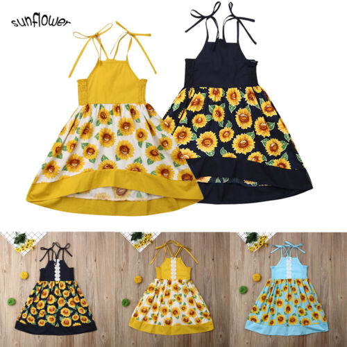 Sweet Toddler Baby Girls Sleeveless Dress Party Princess Floral Sundress Outfit