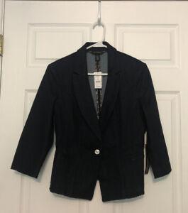 White-House-Black-Market-Womens-Indigo-Denim-Jacket-Pockets-L-12