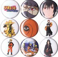 Naruto 9 Pins Buttons Badges Shippuden Sharingan Itachi Sasuske Uchiha Kakashi