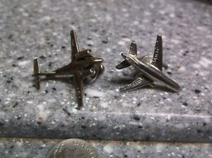 H513 Vintage silver airplane lapel pin pair