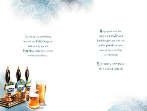 Grand Ami PUB Pompes Bière /& Défiler Design Happy Birthday Card Lovely Verset