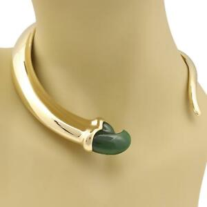 Tiffany-amp-Co-Jade-18k-YGold-Fancy-Claw-Graduated-Curved-Choker-Necklace