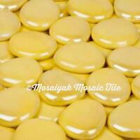 JUMBO Electric Yellow Opal Luster GLASS GEMS Mosaic Tile Tiles