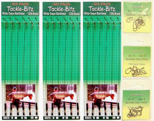 30 Hooks /& 18 Wide Gape Barbless carp hair rigs 6,8,10 fit  safety lead clips