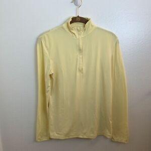 Straight-Down-Womens-Pullover-Golf-Shirt-Yellow-Long-Sleeve-Zip-Collar-Top-XS