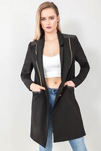 Womens Longline Zip Detail Jacket Blazer in Black Sizes 8 to 20