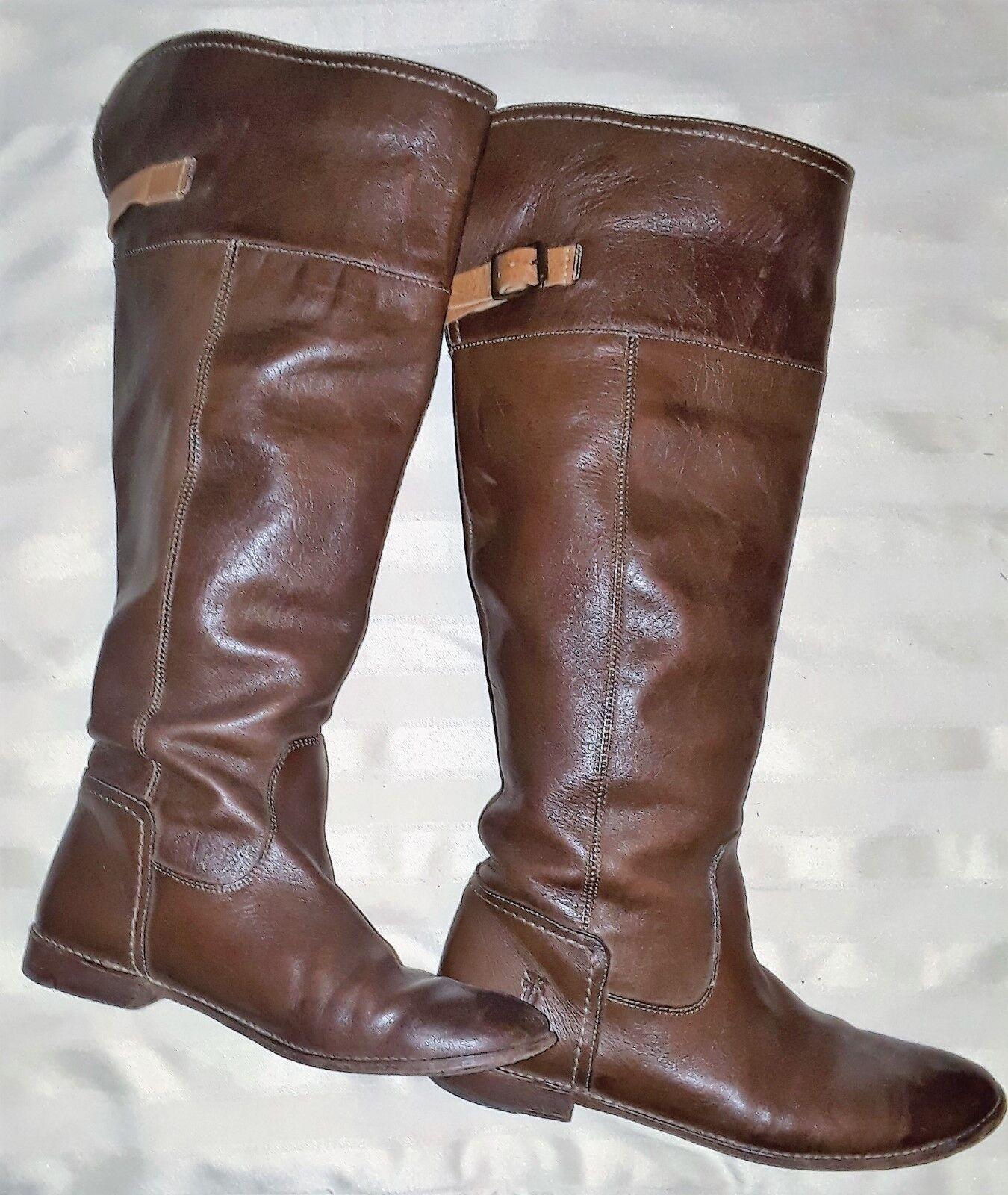 Frye Bronceado Y Marrón sobre la la la rodilla botas – tamaño 10 – Pre Propiedad 22918d