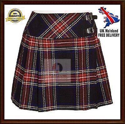 "Billiger Preis Mini Black Stewart Skirt Mini Kilt 16"" Length Tartan Pleated Ladies Skirt"