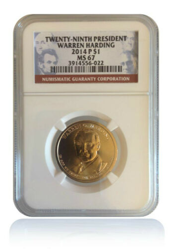 NGC MS67 2014-P Warren Harding Presidential Dollar Gem