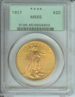 1927 $20 ST. GAUDENS DOUBLE EAGLE PCGS MS65 MS-65 SAINT OLD GREEN HOLDER OGH PQ