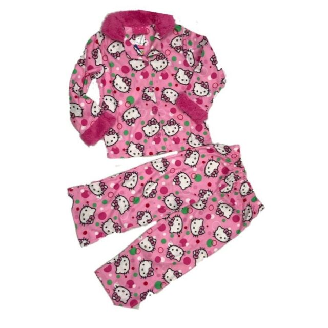 5ec85a234 Hello Kitty Pajama Girls Two 2 Piece Set Bubbles Cat Pink Toddler Size 4 PJ  NWT