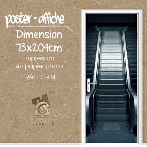 POSTER PORTE DECO TROMPE L/'OEIL ESCALATOR ESCALIER ST-04-4 DIMENSIONS