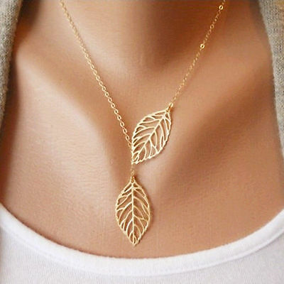 Simple Design Chic Double Leaves Pendant Women Girl Wedding Necklace Best Gift