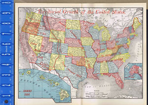 Details about Territorial Growth of the United States - 1895 History Map